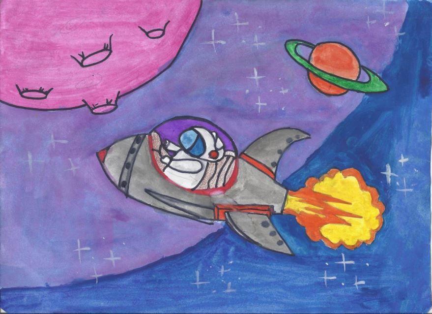 Легкие рисунки на день космонавтики