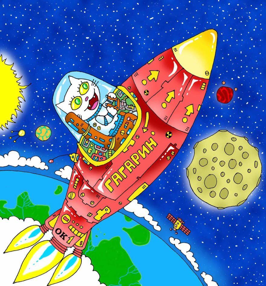 Рисунки на день космонавтики