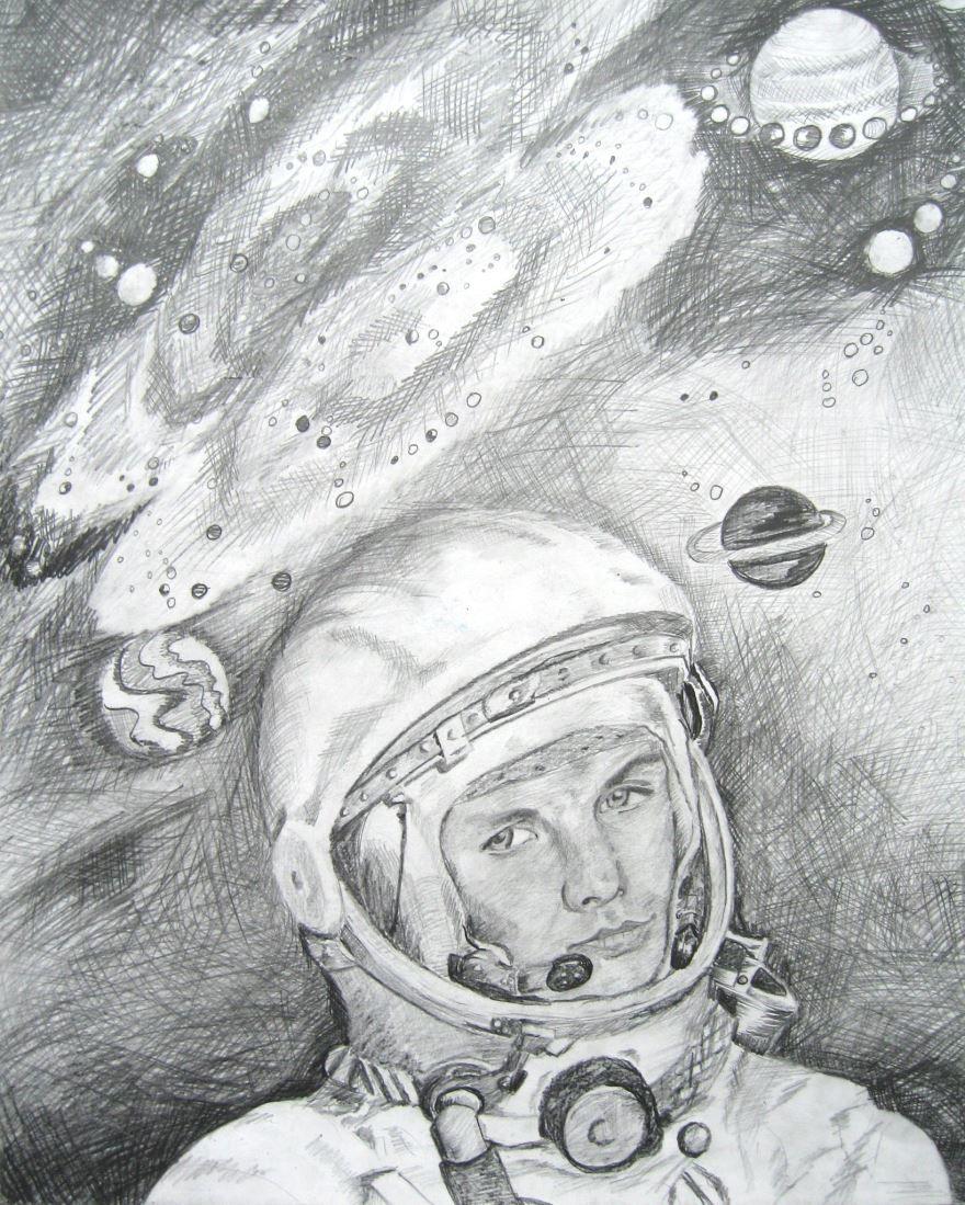 Рисунок карандашом на день космонавтики