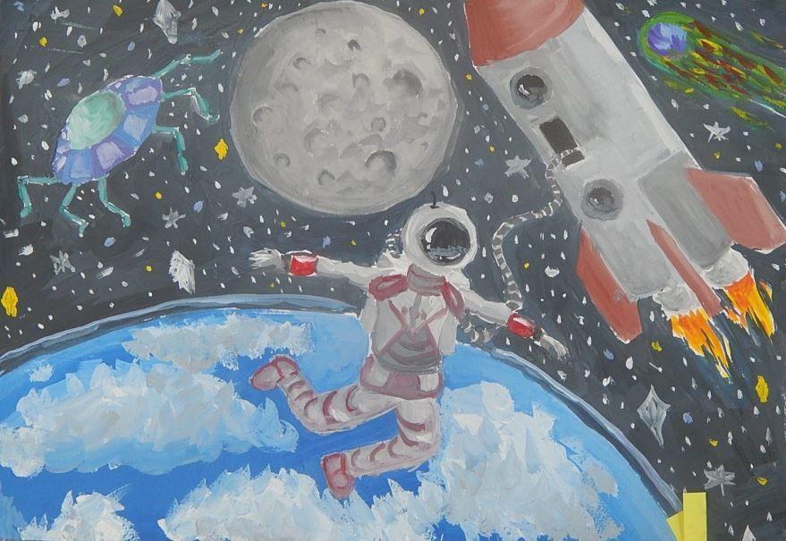 День космонавтики 2020, рисунок для детей