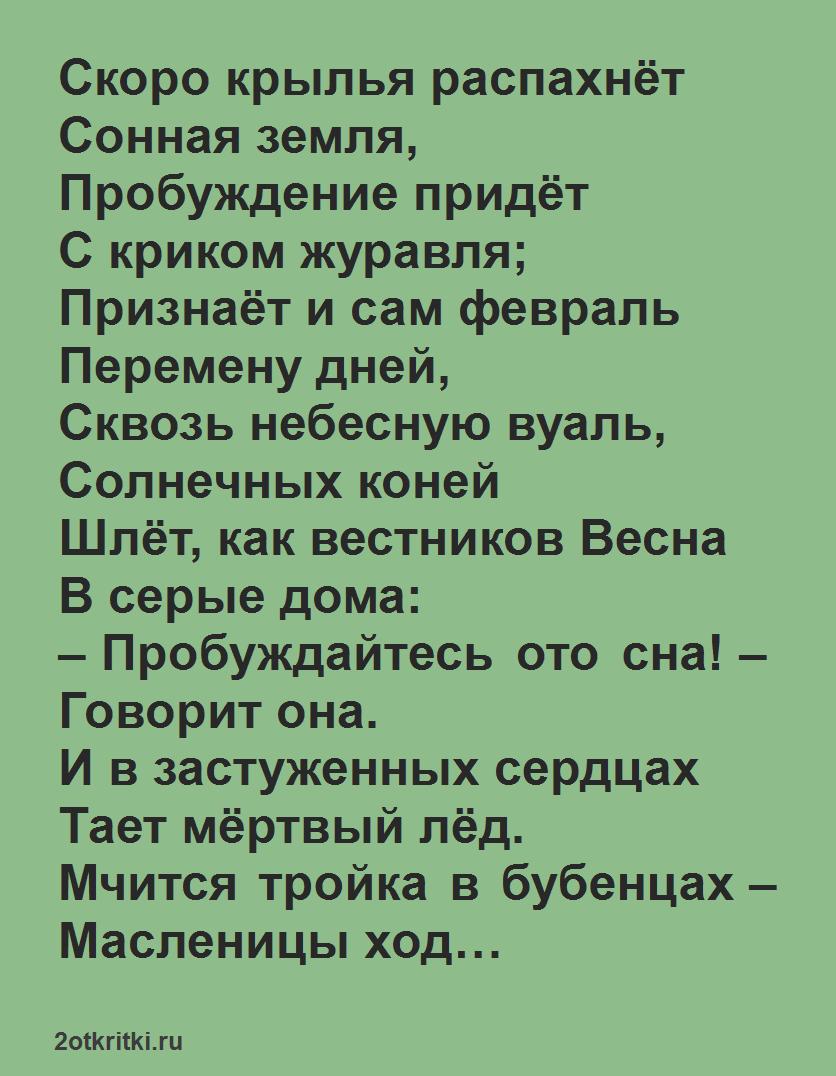 Русская масленица стихи - Скоро крылья распахнет
