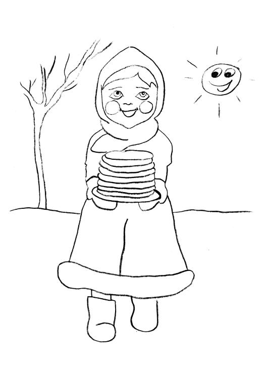 Масленица рисунок карандашом