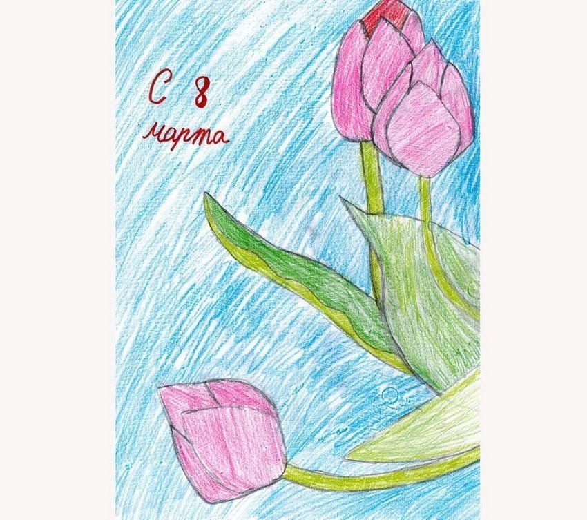 Легкие рисунки на 8 Марта