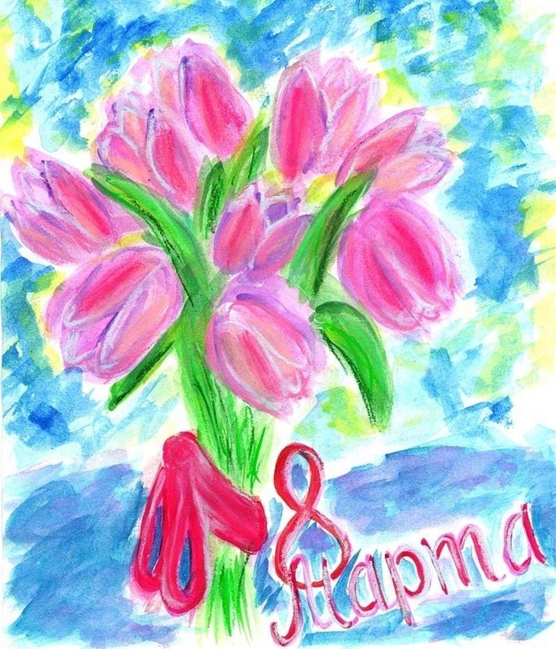 8 Марта руками детей, красивые рисунки
