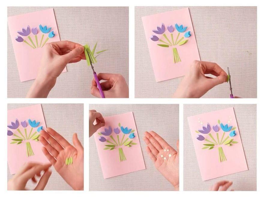 Шаблоны открытки 8 Марта, своими руками