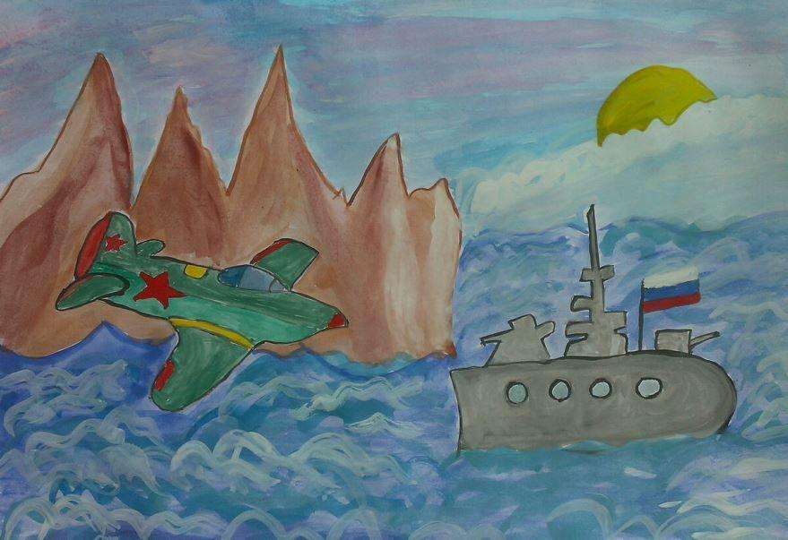 Нарисовать рисунок к 23 февраля в школу