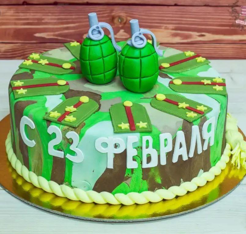 Как украсить торт на 23 февраля, фото?