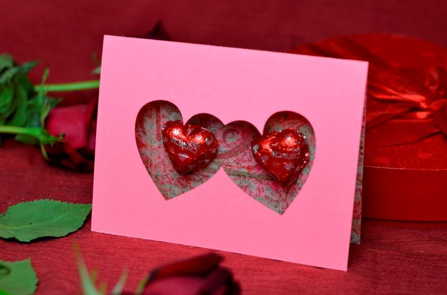 Открытка с праздником днем Святого Валентина, своими руками