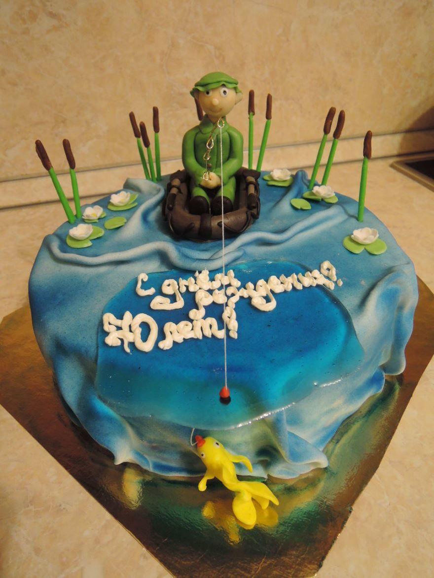 Торт для рыбака на день рождения