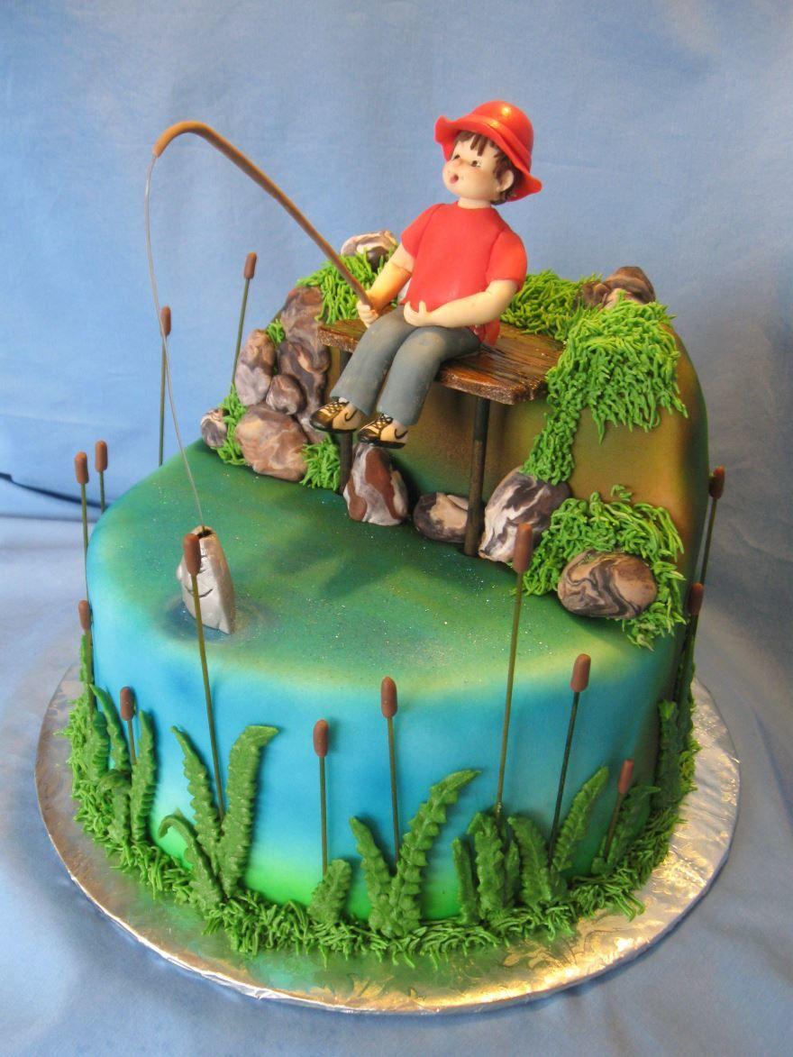 Торт для рыбака на день рождения, фото