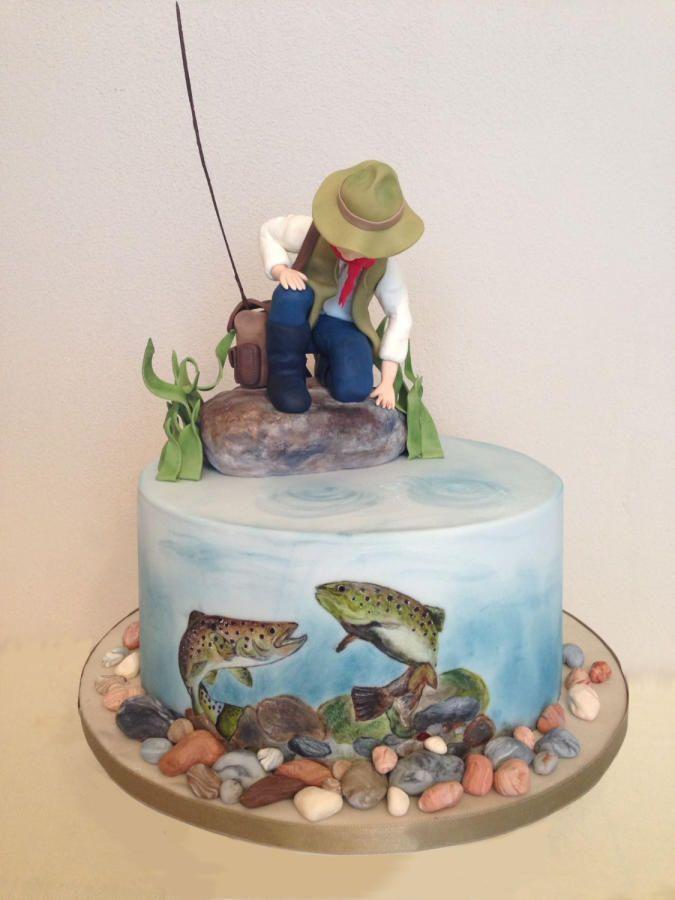 Прикольный торт на день рождения рыбаку