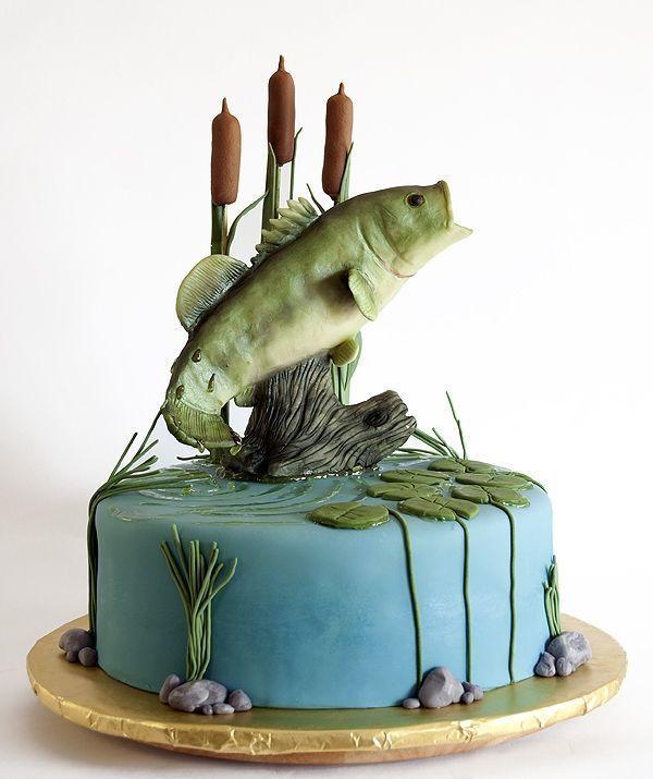 Торт для мужчины рыбака, на день рождения