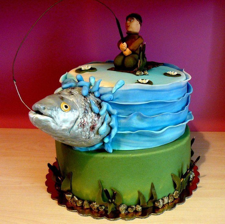 Торт папе рыбаку, на день рождения