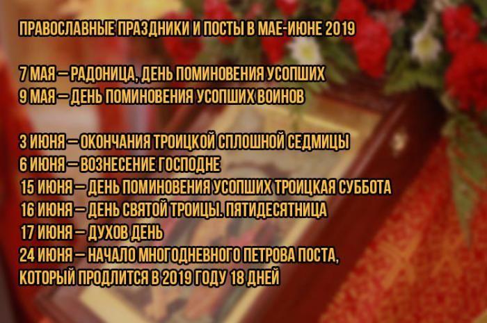 Православные праздники в мае-июне 2019 года