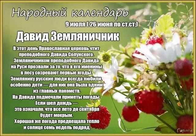 Праздники 9 июля 2021 года в России - Давид земляничник
