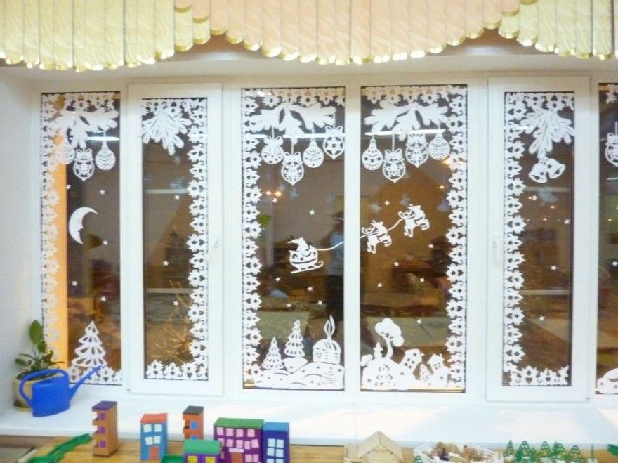 Украшение окон детского сада Новому году